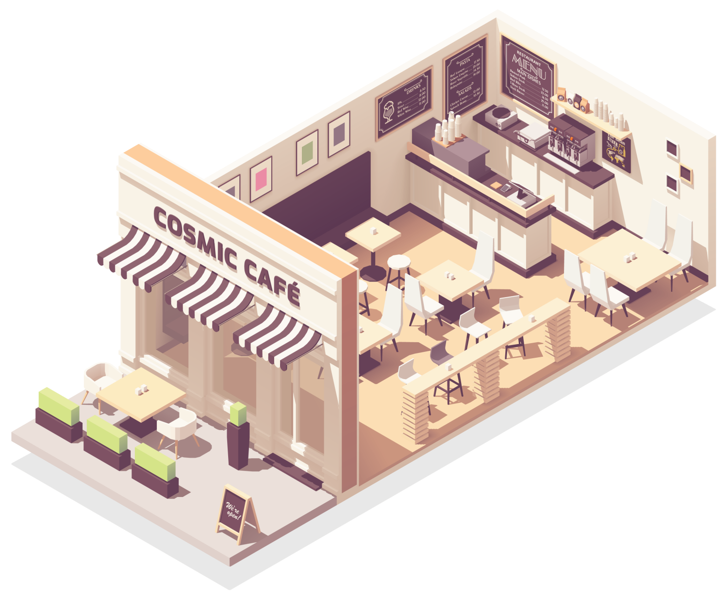 isometric cutaway illustration of a café where Cosmic Cleaning Bristol might provide contract cleaning services
