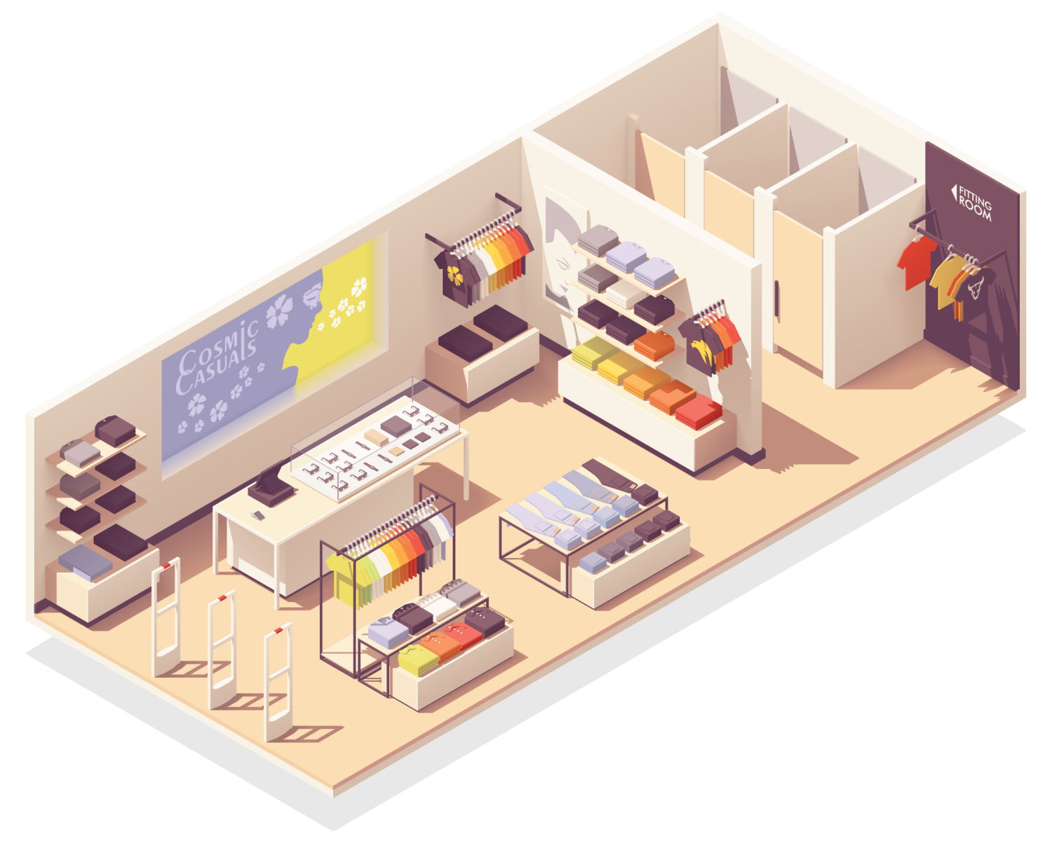 isometric cutaway illustration of a shop called Cosmic Casuals, where Cosmic Cleaning Bristol might provide contract cleaning services