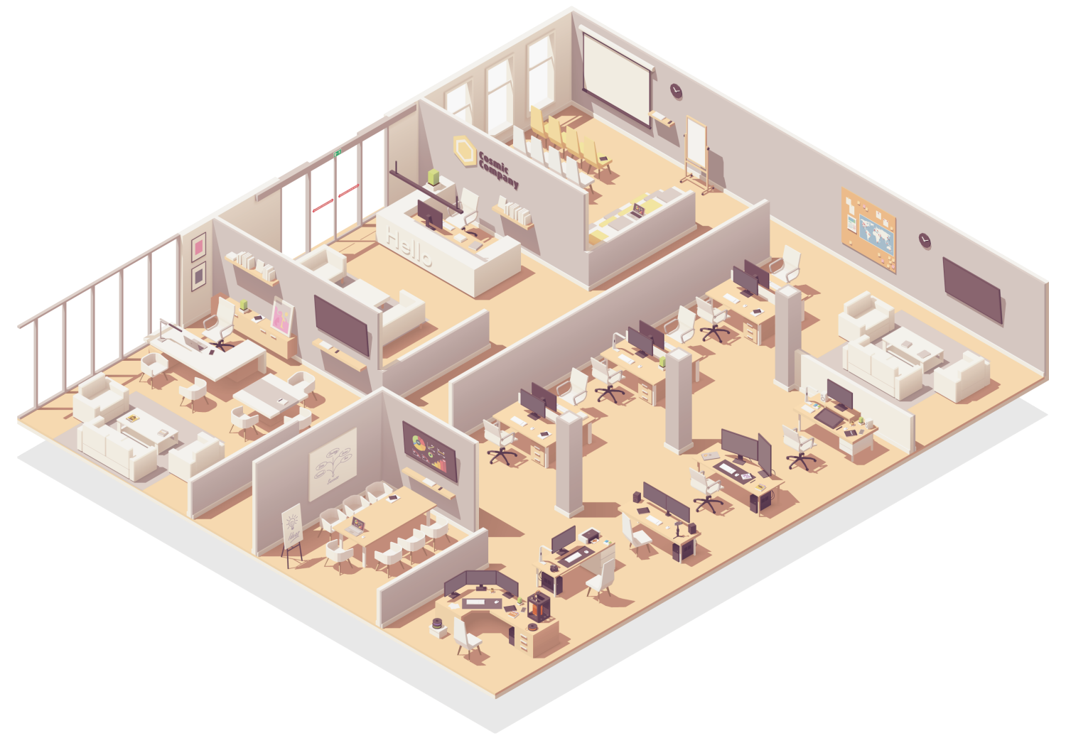 isometric cutaway illustration of a suite of offices where Cosmic Cleaning Bristol might provide contract cleaning services