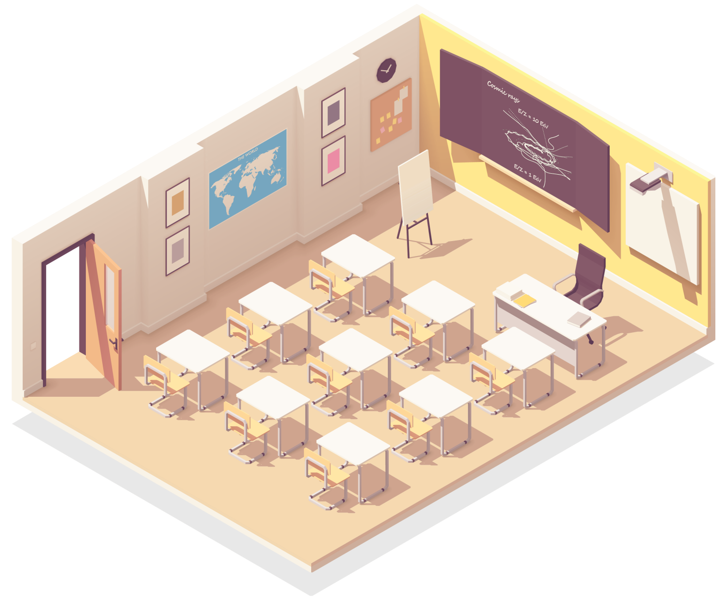 isometric cutaway illustration of a college classroom where Cosmic Cleaning Bristol might provide contract cleaning services