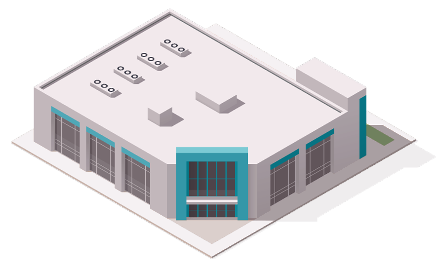 Isometric illustration of a low-rise office block