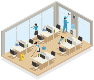 isometric cutaway illustration of an office with contract cleaning operatives in action