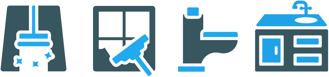 graphic devices signifying floor cleaning, window cleaning, lavatory cleaning and kitchen cleaning