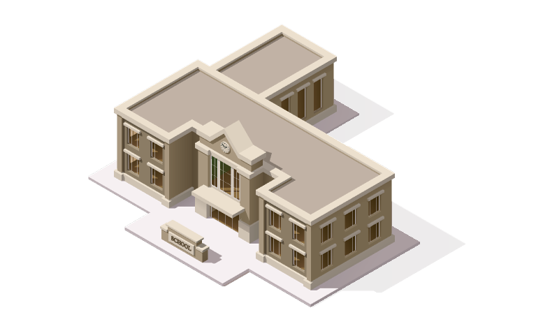 Isometric illustration of a school building