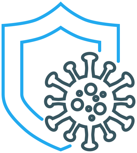 graphic device with a coronavirus virion and a shield