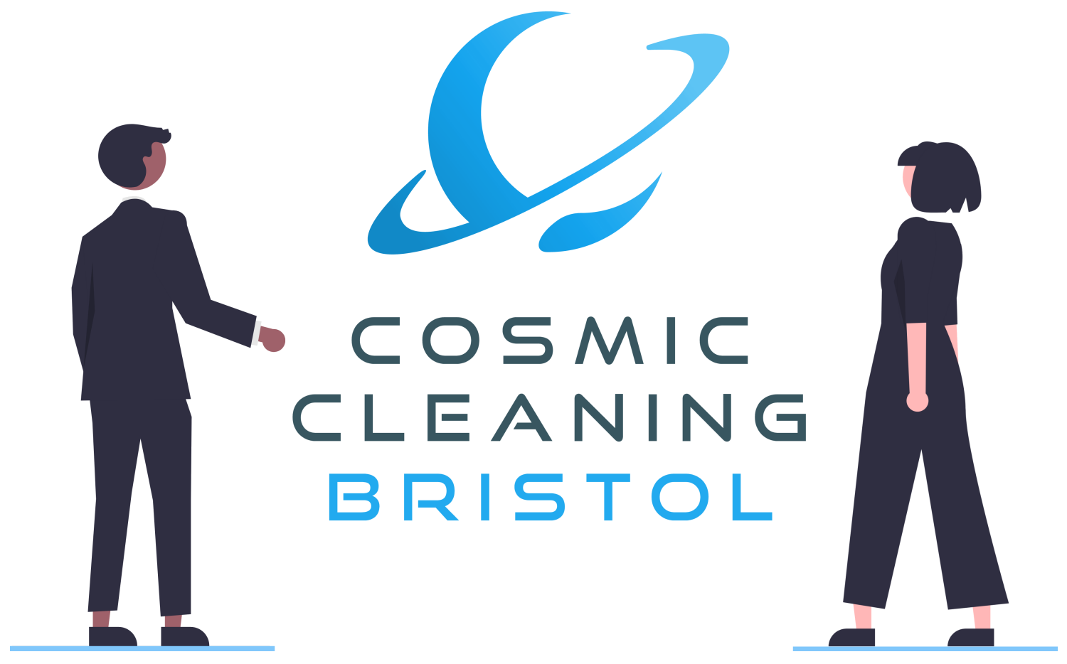 Two Undraw people admiring the Cosmic Cleaning Bristol logo